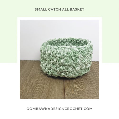 Catch all basket medium weight yarn version OombawkaDesign