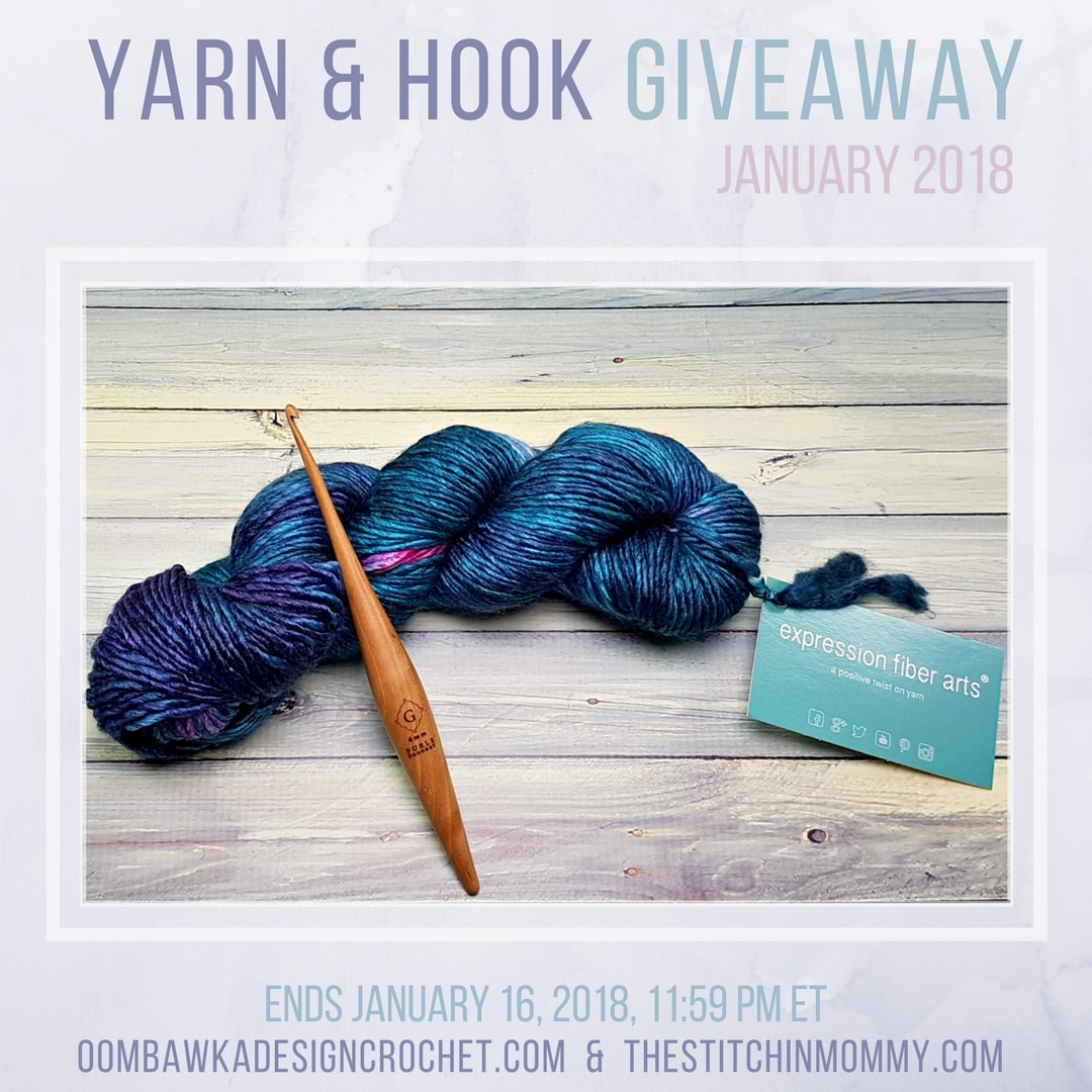 January 9 to 16 Yarn and Hook Giveaway Month 1 oombawkadesigncrochet thestitchinmommy main