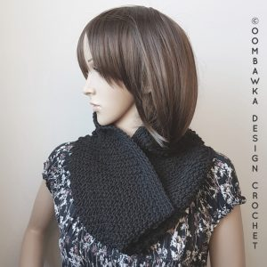 My Little Black Cowl OombawkaDesignCrochet January Scarfofthemonthclub2018 6