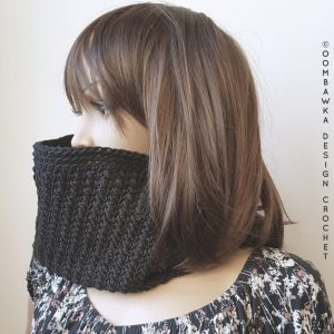 My Little Black Cowl OombawkaDesignCrochet January Scarfofthemonthclub20185