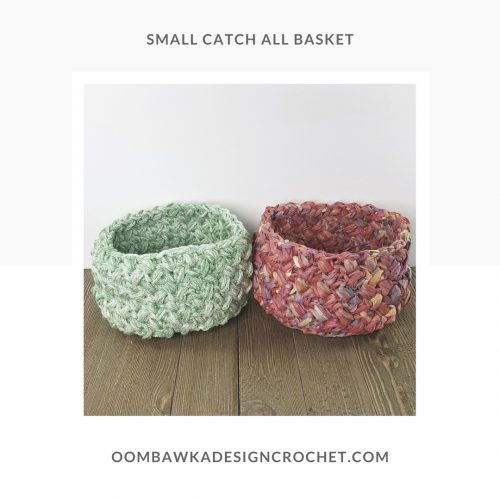 Small Catch All Basket Raffia and Medium Weight Yarn