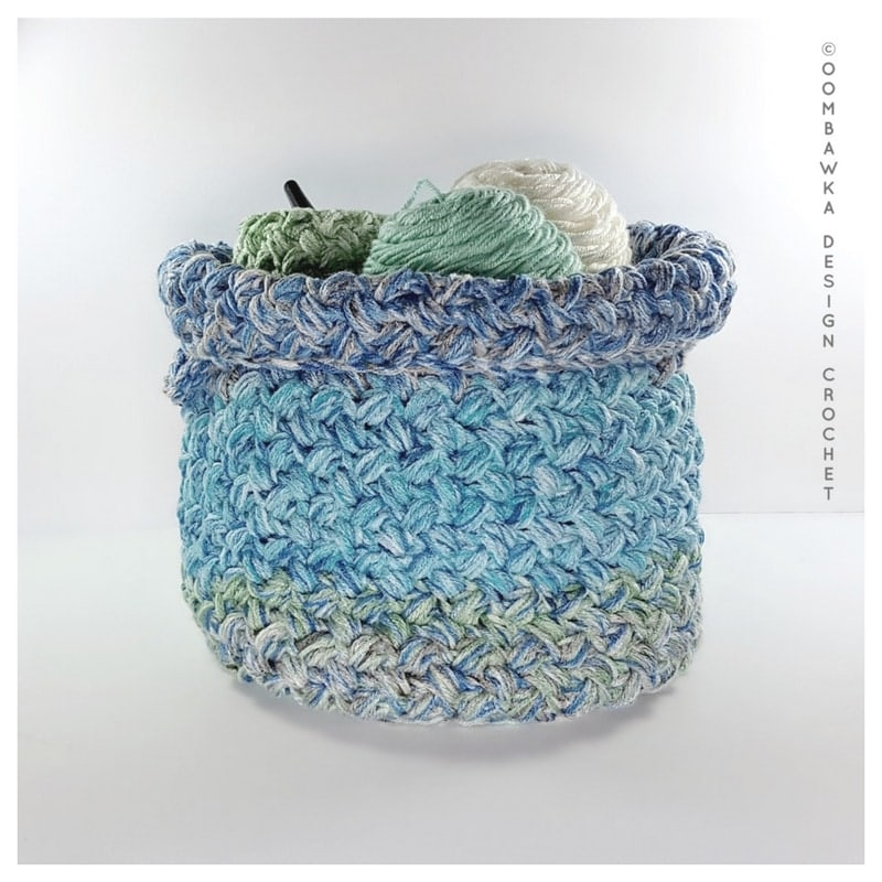 Yarn Stash Basket Free Pattern Medium Weight Yarn by Oombawka Design 2018 Folded Top 2