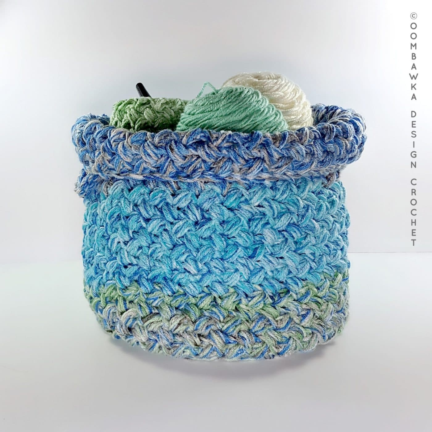 Yarn Stash Basket Free Pattern Medium Weight Yarn by Oombawka Design 2018 Folded Top
