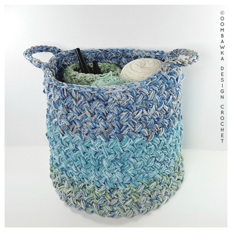 Yarn Stash Basket Free Pattern Medium Weight Yarn by Oombawka Design 2018
