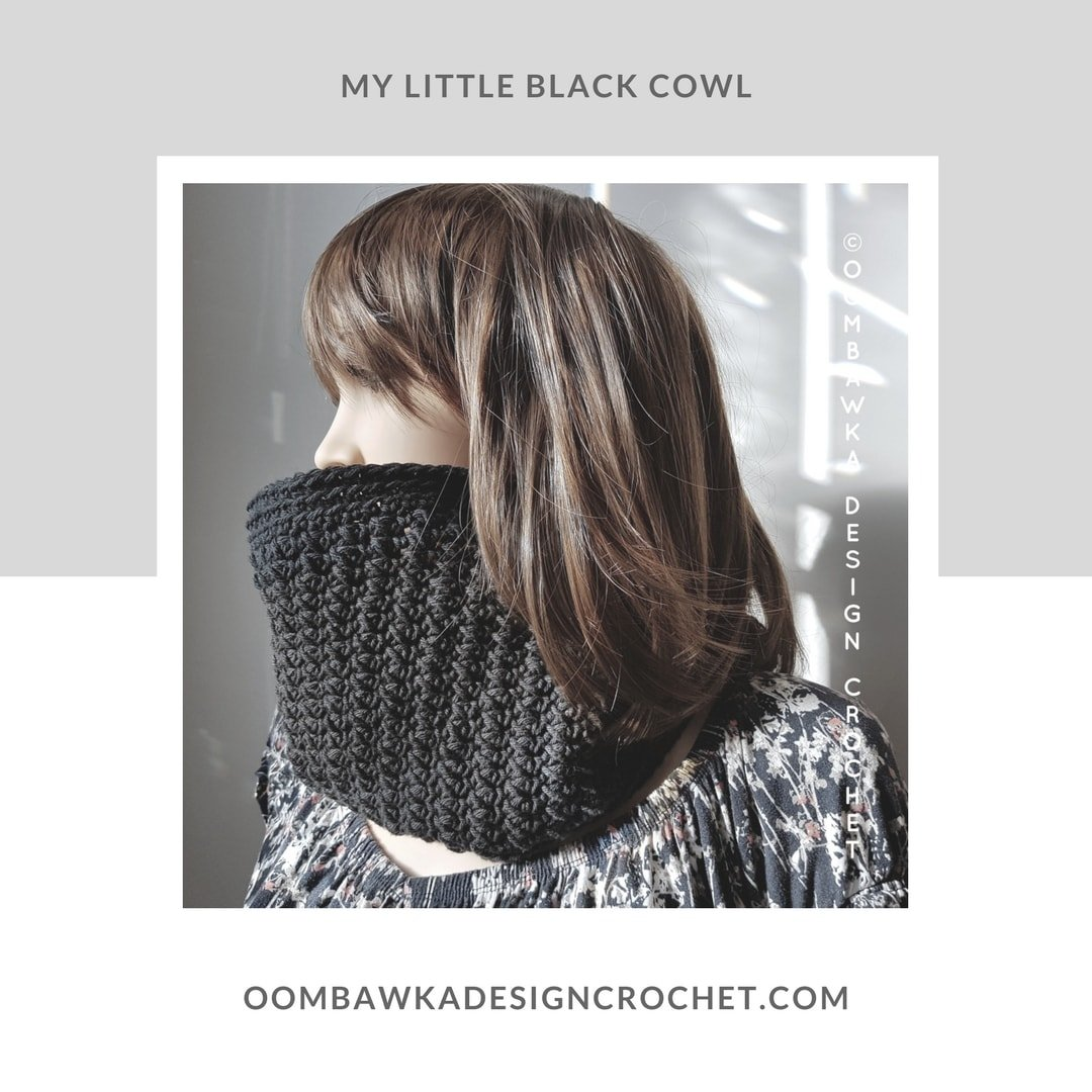 My Little Black Cowl OombawkaDesignCrochet January Scarfofthemonthclub2018