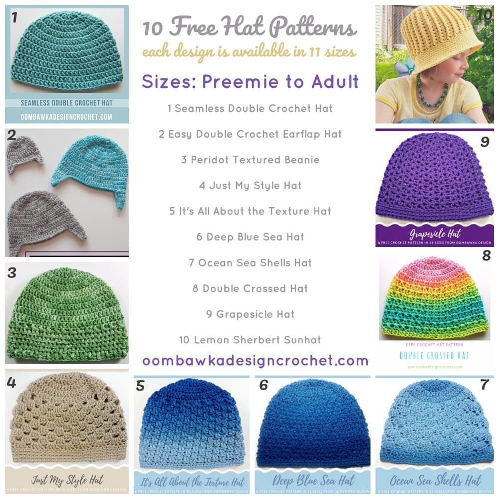 10 Free Patterns for Hats in sizes Preemie to Adult