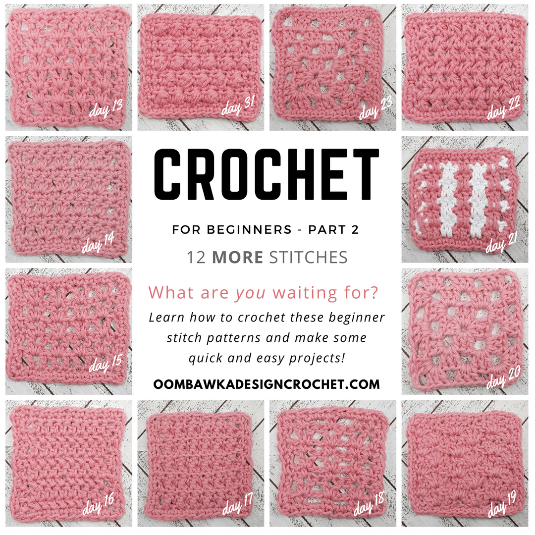 12 More Dishcloths 12 More Days Beginner Friendly Crochet Stitch Patterns with Tutorials CAL Oombawka Design Crochet Post