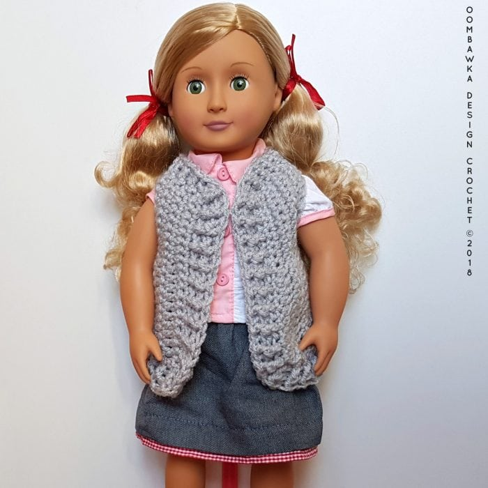 18 Inch Doll Clothes - Vest for Dolly Oombawka Design Crochet Free Pattern 3