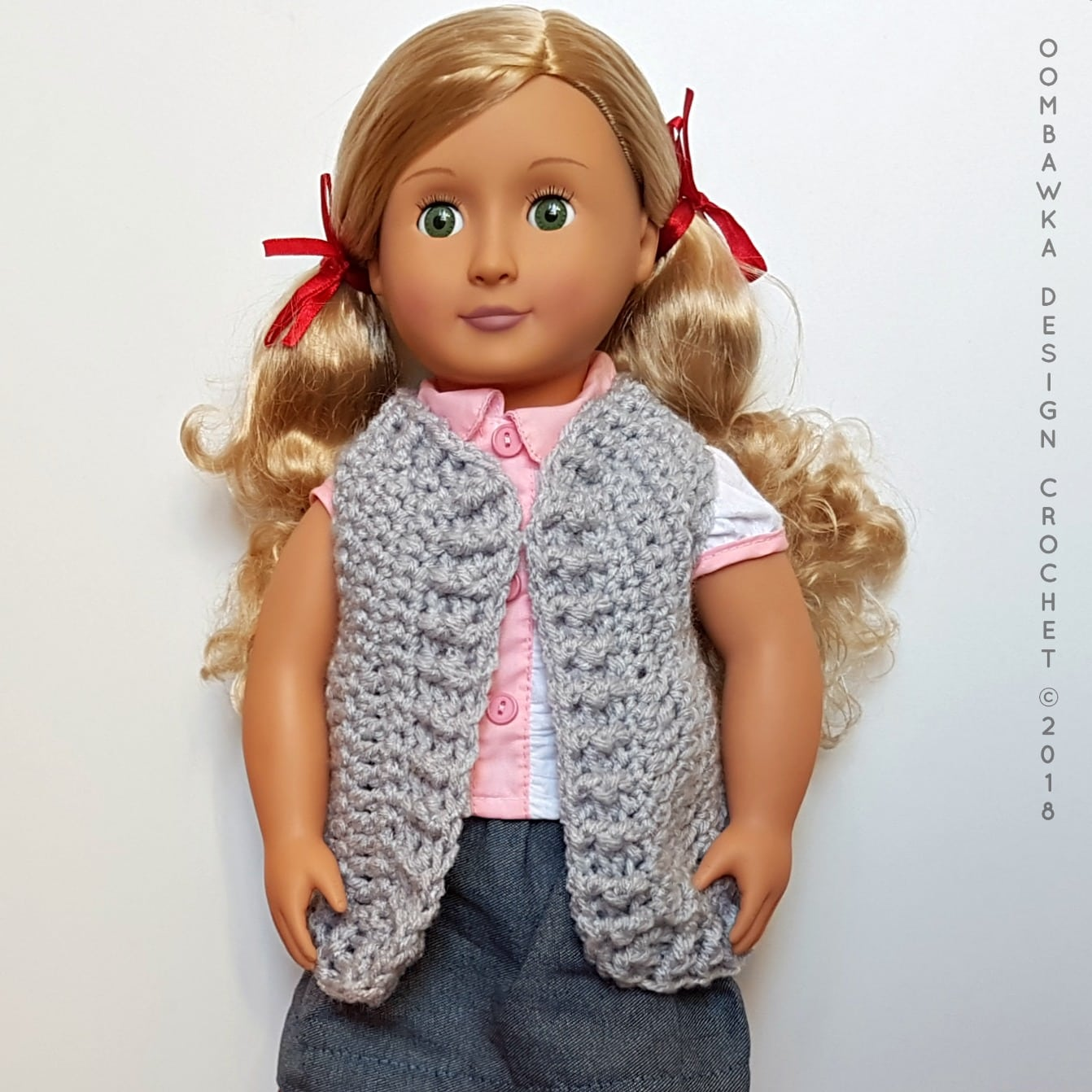 18 Inch Doll Clothes - Vest for Dolly Oombawka Design Crochet Free Pattern