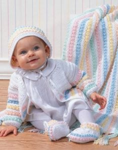 Fancy French Knots Layette - Big Book of Crochet - Leisure Arts - Book Review oombawkadesigncrochet