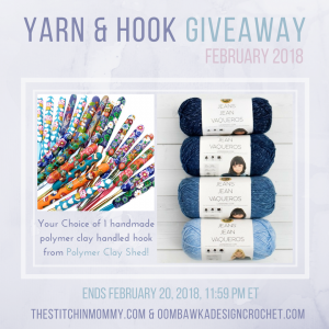 February Yarn and Hook Giveaway with Amy from the Stitchin Mommy and Rhondda from Oombawka Design