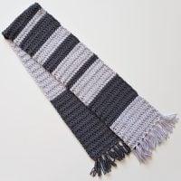 The Simple Grey Striped Scarf Unisex design Oombawka Design Crochet