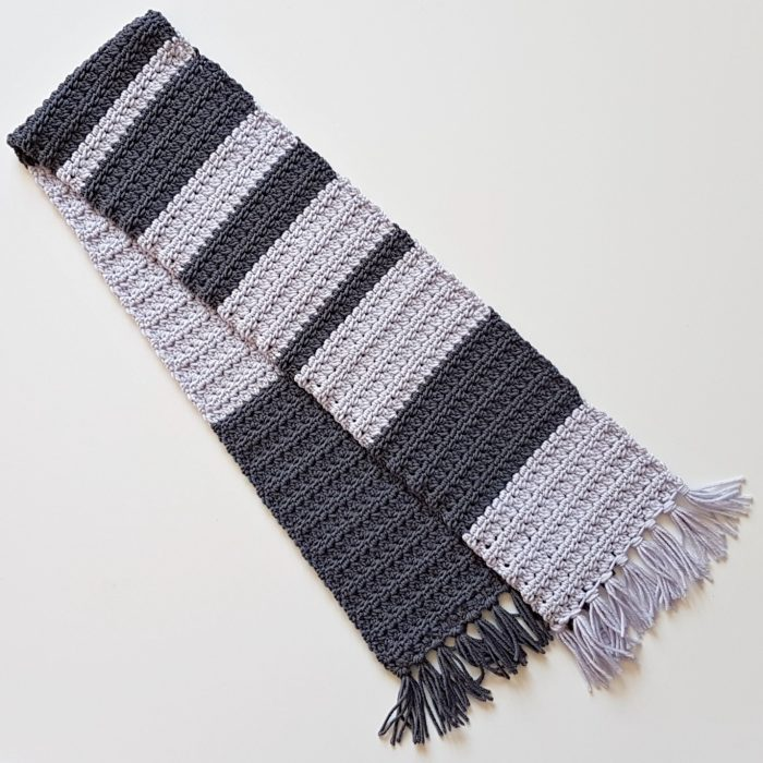 The Simple Grey Striped Scarf Unisex design Oombawka Design Crochet