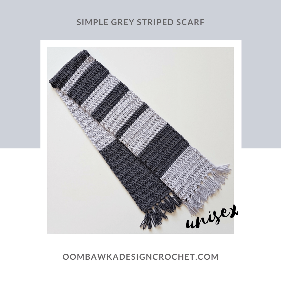 Unisex Simple Grey Striped Scarf