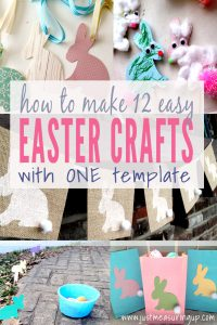 Featured at the Wednesday Link Party with Amy and Rhondda: 12 Easter Crafts Made With the Same Bunny Template - Just Measuring Up