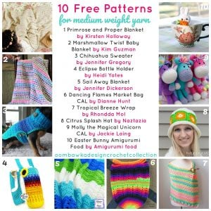 10 Free Patterns for Medium Weight Yarn an OombawkaDesignCrochetCollection