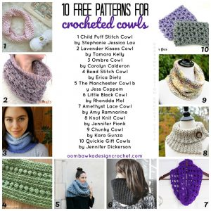 10 free patterns for crocheted cowls an oombawkadesigncrochet collection