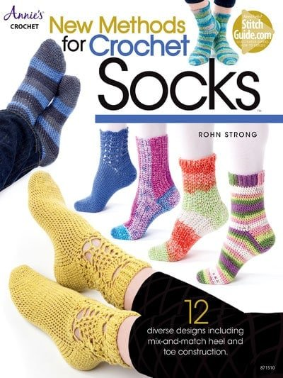 New Methods for Crochet Socks. With 12 beautiful sock designs to choose from, New Methods for Crochet Socks provides a great collection of sock patterns you can crochet. For the more advanced Sock Crocheter, tips from the Designer for customizing your socks based on foot sizes and widths and different types of toes and heels have also been provided.