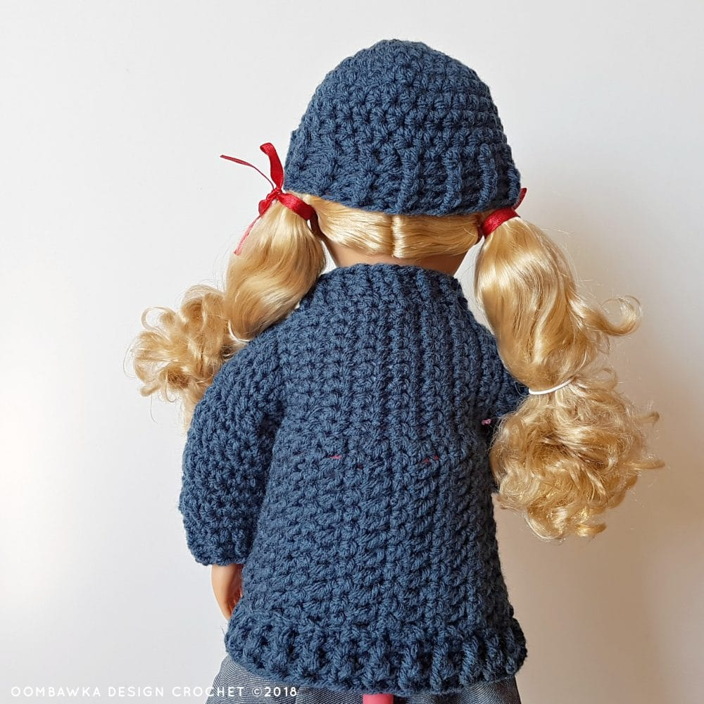 18 Inch Doll Clothes - Coat and Hat for Dolly Oombawka Design Crochet 2018 Back