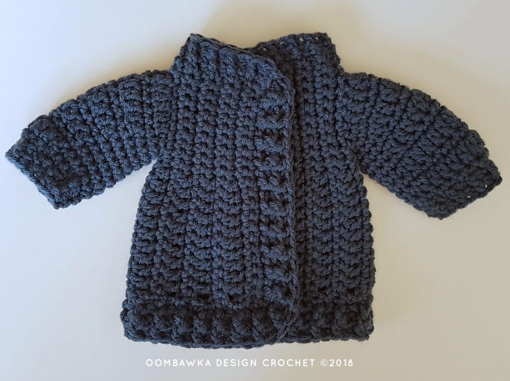 18 Inch Doll Clothes - Coat and Hat for Dolly Oombawka Design Crochet 2018 Closed Coat