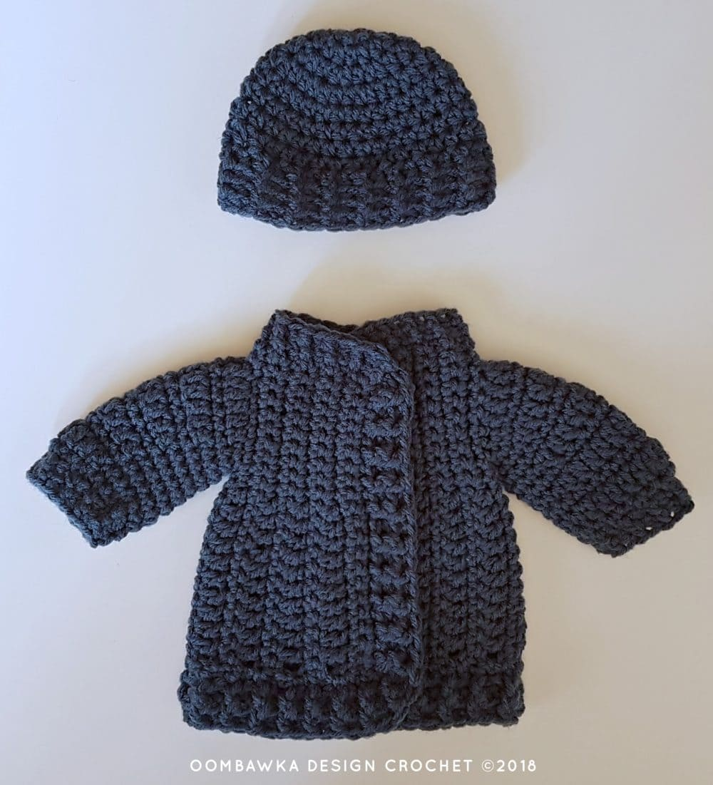 18 Inch Doll Clothes - Coat and Hat for Dolly Oombawka Design Crochet 2018 Closed Coat with Hat