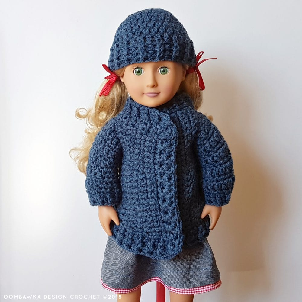 18 Inch Doll Clothes - Coat and Hat for Dolly Oombawka Design Crochet 2018 Front