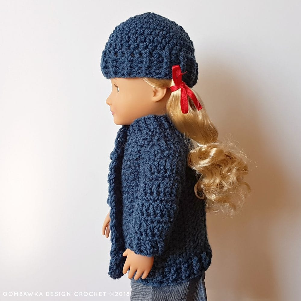 18 Inch Doll Clothes - Coat and Hat for Dolly Oombawka Design Crochet 2018 Side