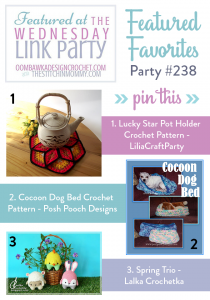Featured at Wednesday Link Party 238: Lucky Star Potholder, Crochet Dog Bed and Spring Trio!
