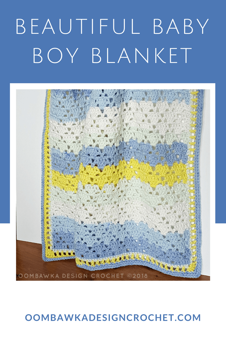 Beautiful Baby Boy Blanket A Free Baby Crochet Pattern #caroncakes #freepattern #freecrochetpatterns #babycrochet
