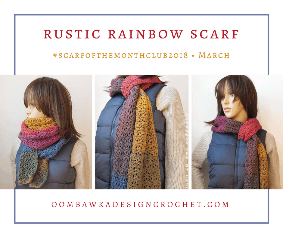 Scarfofthemonthclub2018 March Rustic Rainbow Scarf Oombawka Design FB