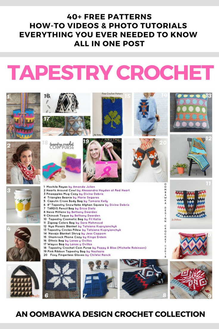 The BIG Tapestry Crochet Post - Free Patterns, Tutorials and Tools! Everything you've ever wanted to know about Tapestry Crochet in one single post. The post includes 40 Free Tapestry Crochet Patterns (including Mochila bags), 11 Tapestry Crochet Tutorials (Video and Photo are included), 7 Printable Free Crochet Graph Paper Options Great for Tapestry Crochet Projects, 5 FREE Online Crochet Software Options To Create Your Own Crochet Graphs and Charts, 7 Tapestry Crochet Books, 3 Beautiful Mochila Bag Patterns available for sale and 5 Helpful Tapestry Crochet Tools.