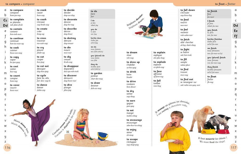 Verbs DK Canada First French Dictionary Book Review OombawkaDesign