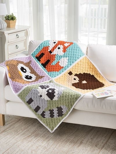 Woodland Animals Corner-to-Corner Lap Throws for the Family