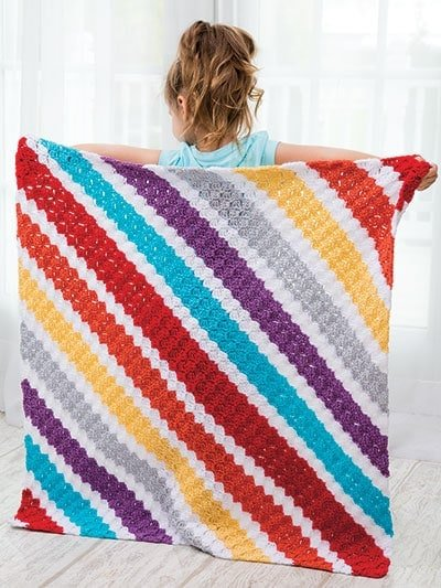 Simple Stripes Corner-to-Corner Lap Throws for the Family
