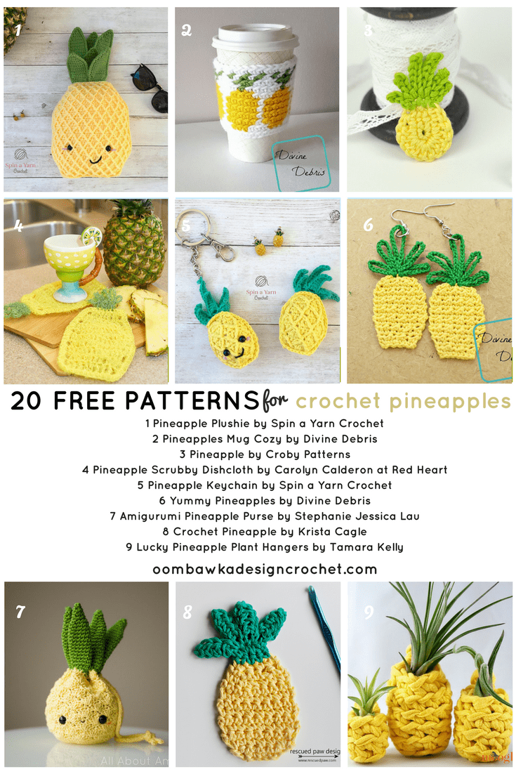 Crochet these 🍍 Fun Free Pineapple Crochet Patterns 🍍 • Oombawka ...