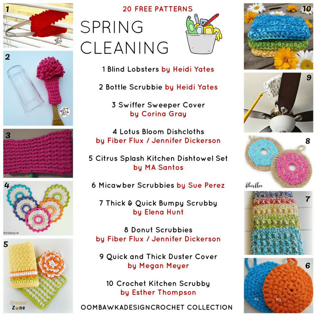 20 Spring Cleaning Projects. Free Crochet Patterns.