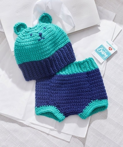 Crochet Bear Hat and Diaper Cover from Red Heart Yarn #Crochetyay May Project at Oombawka Design Crochet