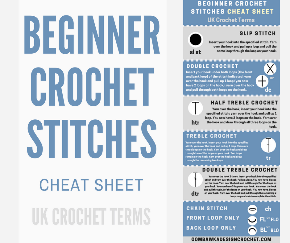 Beginner Crochet Stitches Cheat Sheet UK Terms Oombawka Design Crochet oombawkadesigncrochet cover