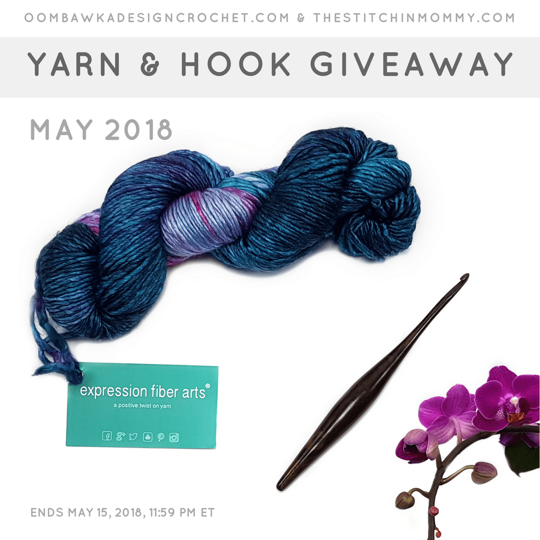 2018 May Yarn and Hook Giveaway. Oombawka Design Crochet and The Stitchin Mommy insta
