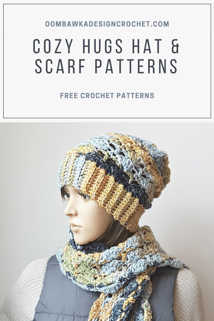 Cozy Hugs Hat and Scarf Patterns. Oombawka Design Crochet.