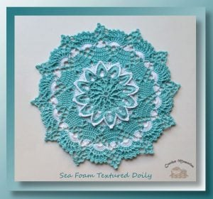 Featured at Wednesday Link Party 243. Sea Foam Textured Doily by Cylinda at Crochet Memories Blog