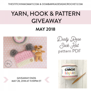 May Yarn, Hook and Pattern Giveaway. Oombawka Design Crochet. FB