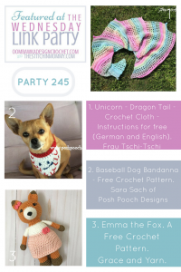 Wednesday Link Party 245 Features Dragon Tail Scarf Pattern Baseball Dog Bandanna Pattern and Amigurumi Fox Pattern