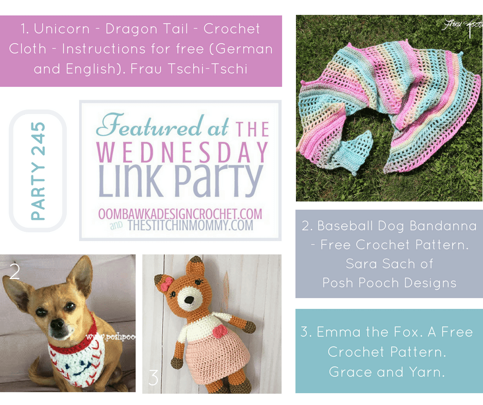 Wednesday Link Party 245 Features Dragon Tail Scarf Pattern Baseball Dog Bandanna Pattern and Amigurumi Fox Pattern fb
