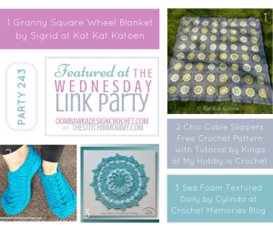 Featuring: Granny Square Wheel Blanket, Cabled Slippers and Textured Doily