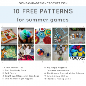10 Crochet Patterns for Summer Games. Pattern Roundup. Oombawka Design Crochet FB