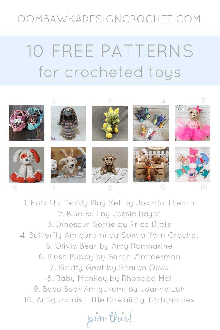 10 Free Patterns for Crocheted Toys. Amigurumi Roundup. Oombawka Design Crochet PIN