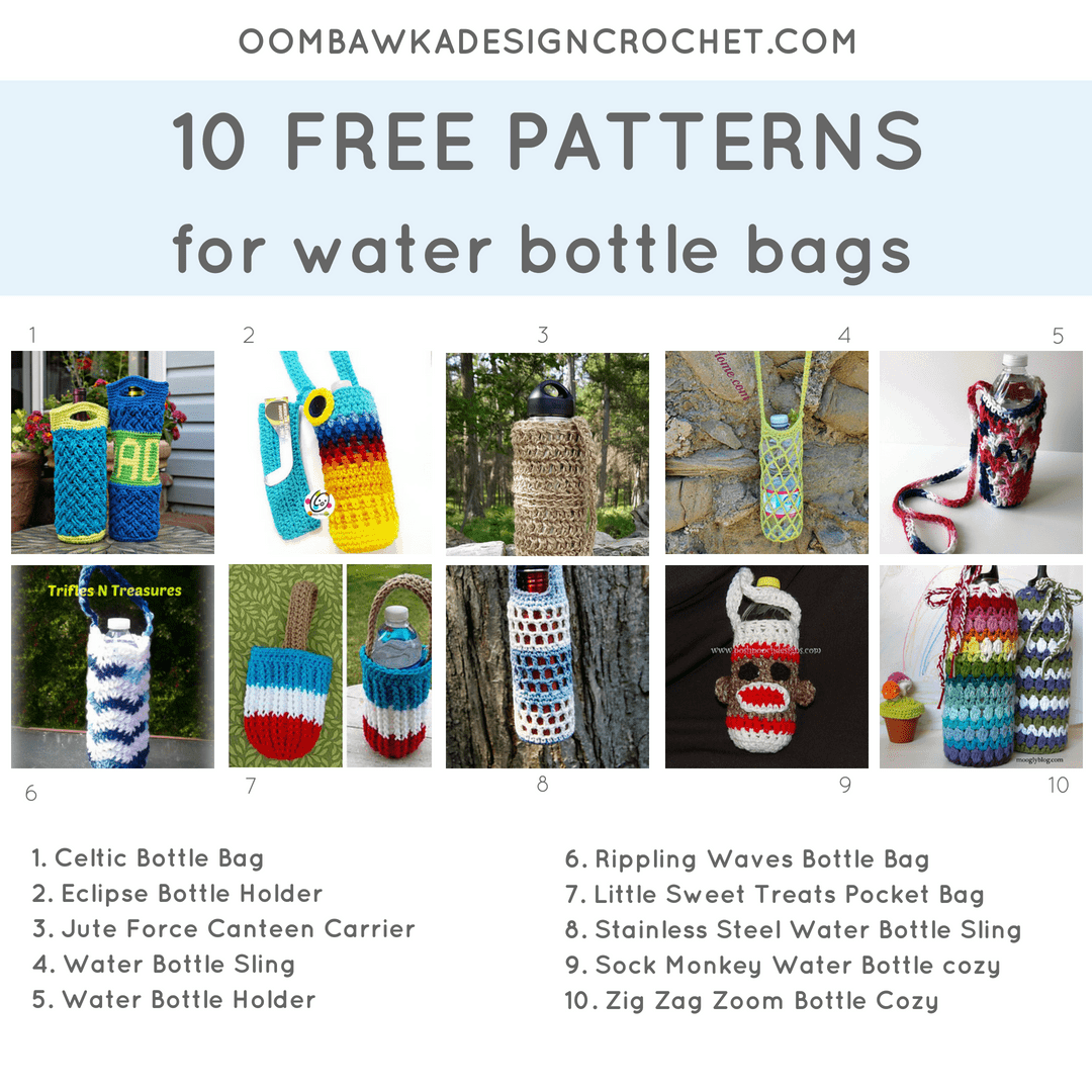 10 Patterns for Water Bottle Bags. Pattern Roundup. FB Oombawka Design Crochet
