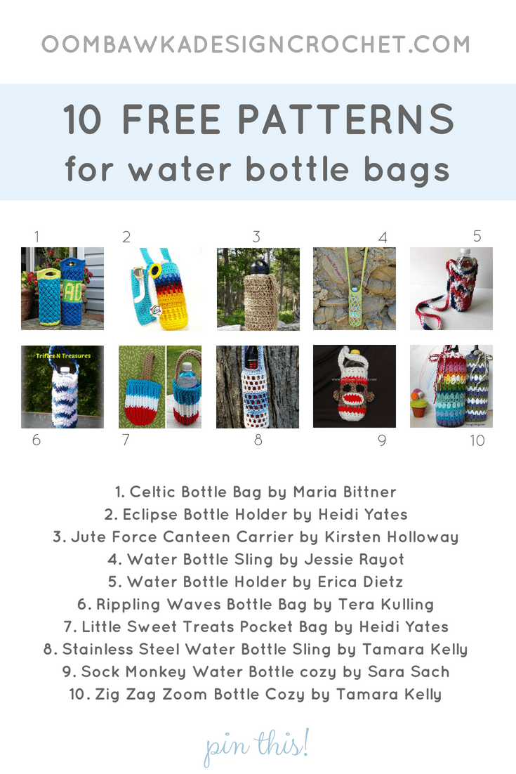 10 Patterns for Water Bottle Bags. Pattern Roundup. Oombawka Design Crochet