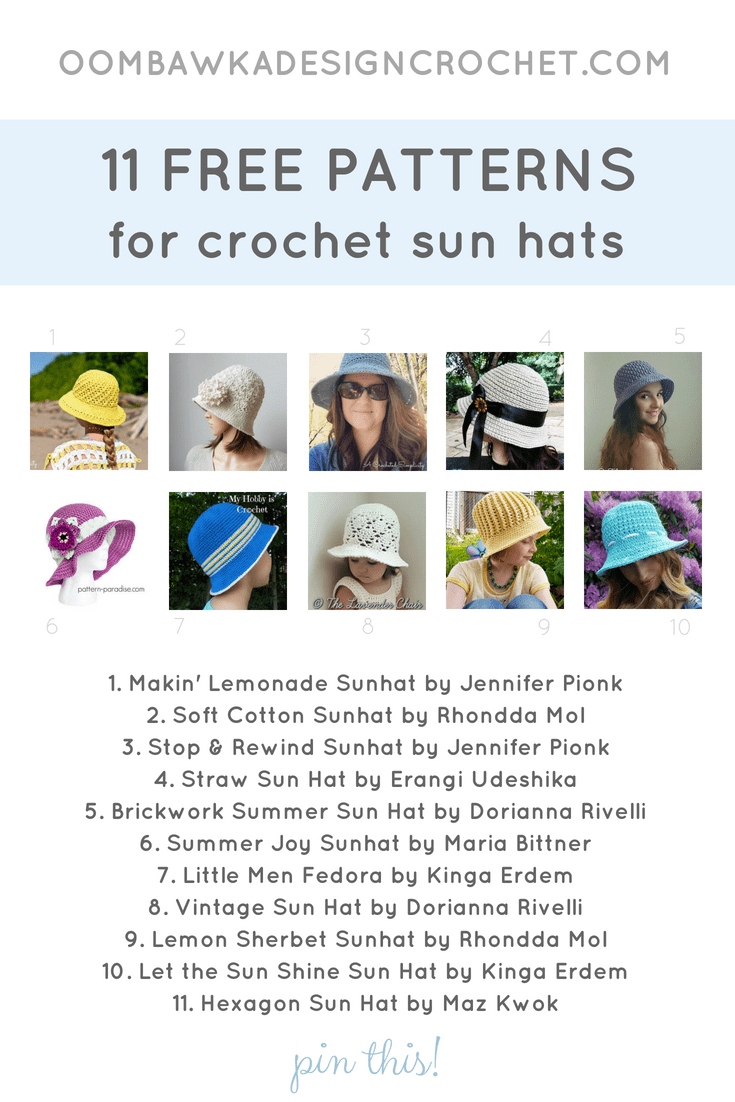 11 Free Patterns for Crochet Sunhats. Crochet Pattern Roundup Oombawka Design